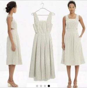 MADEWELL Sz 6 Cut out Stripe Dress Ivory Gray